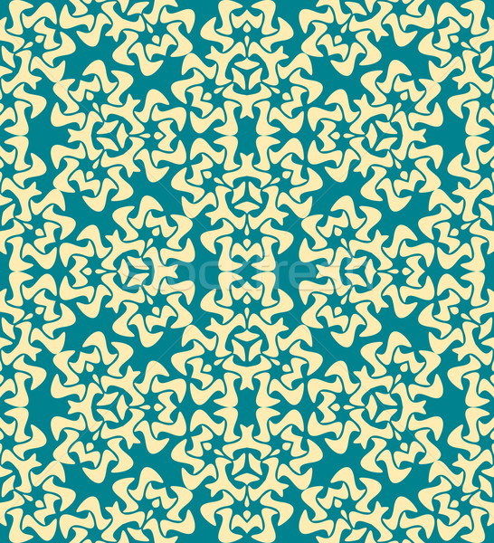 Stock photo: abstract decorative floral yellow blue seamless pattern