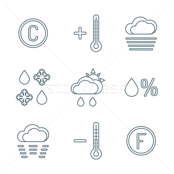 dark outline weather forecast icons set Stock photo © TRIKONA