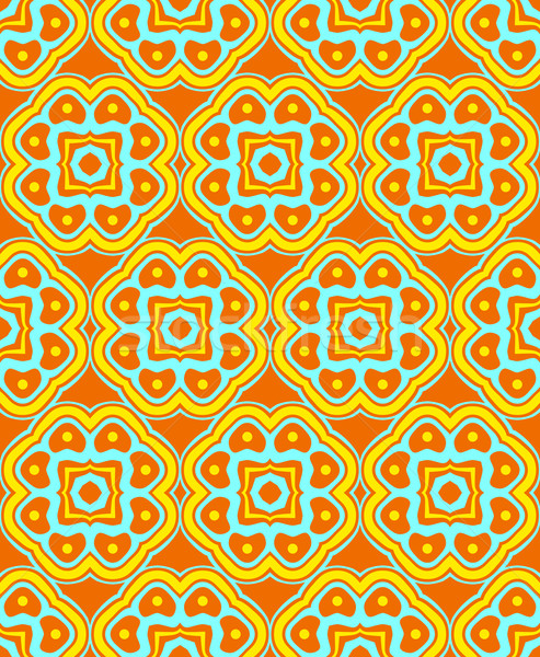 psychedelic abstract colorful orange yellow cyan seamless patter Stock photo © TRIKONA