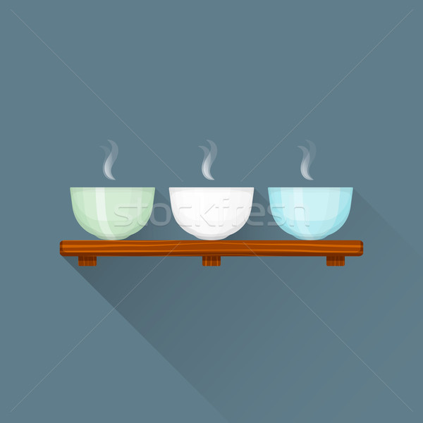 vector flat triple Chinese tea cups on stand illustration icon Stock photo © TRIKONA
