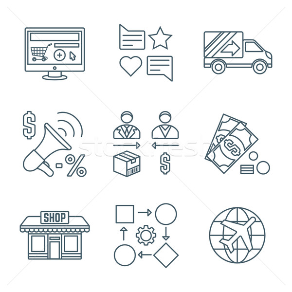 various dark color outline business distribution marketing proce Stock photo © TRIKONA