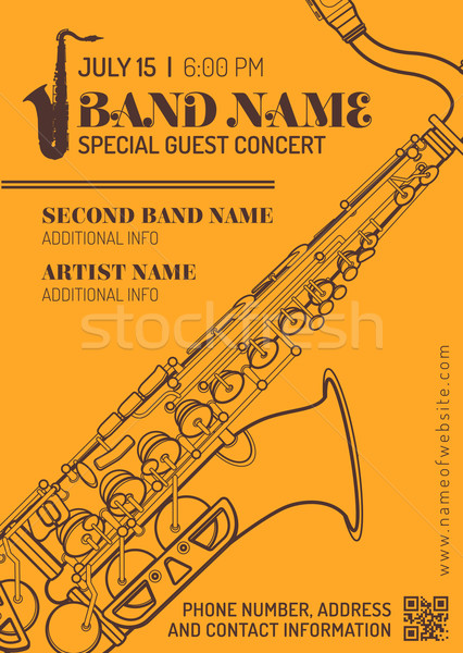 Jazz musique concert saxophone horizontal flyer Photo stock © TRIKONA