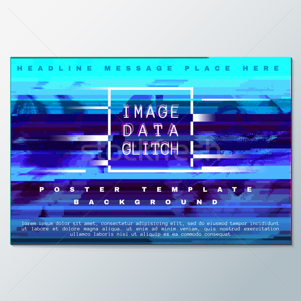 colored glitch design background poster template vector illustration
