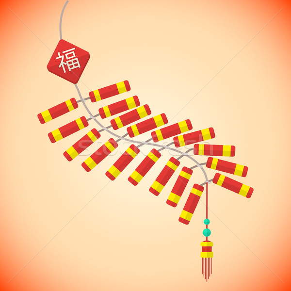 flat style chinese new year firecrackers  Stock photo © TRIKONA