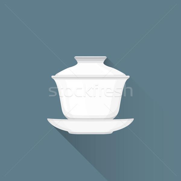 Wektora chińczyk herbaty ilustracja ikona biały Zdjęcia stock © TRIKONA