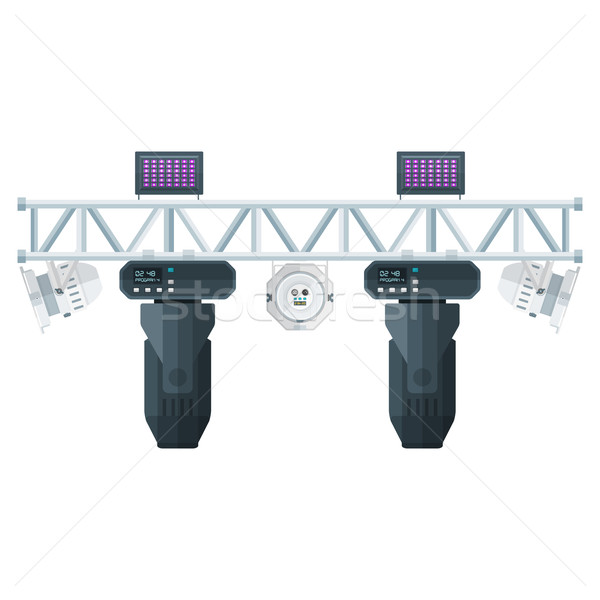 Stock photo: flat style stage metal truss concert lighting equipment