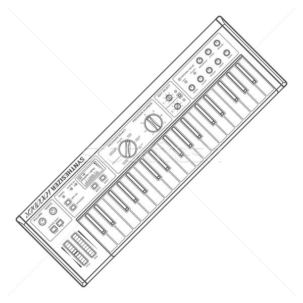 dark monochrome contour piano roll synthesizer vocoder illustrat Stock photo © TRIKONA