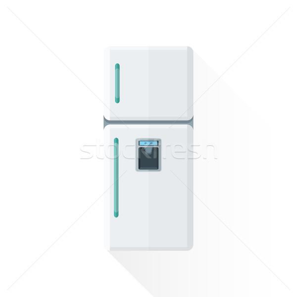 Vektor stílus fehér konyha hűtőszekrény illusztráció Stock fotó © TRIKONA
