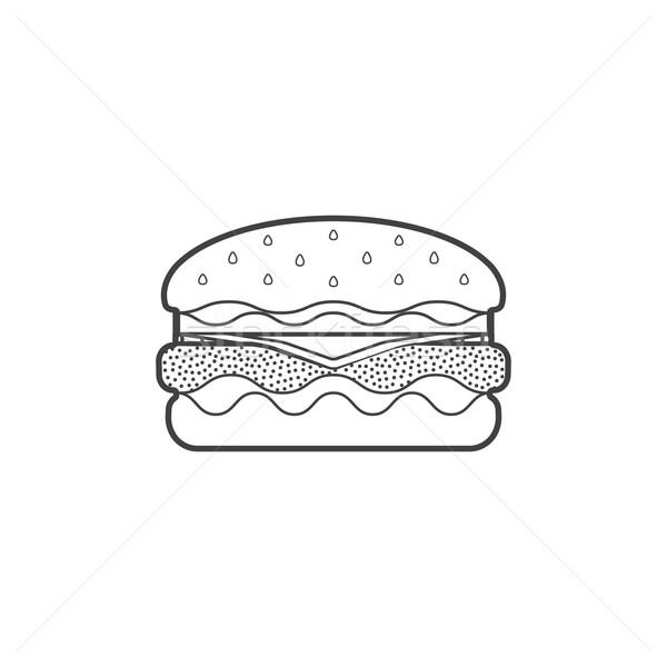 outline fast food hamburger icon illustration Stock photo © TRIKONA
