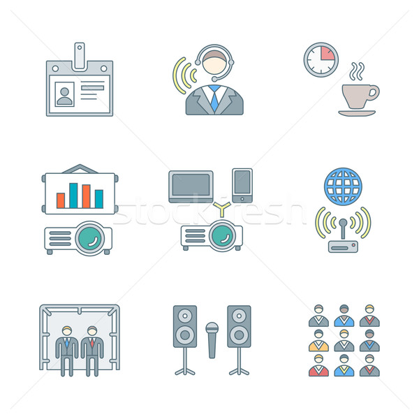 outline colored conference concept icons set Stock photo © TRIKONA