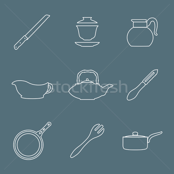 outline design dinnerware icons set Stock photo © TRIKONA