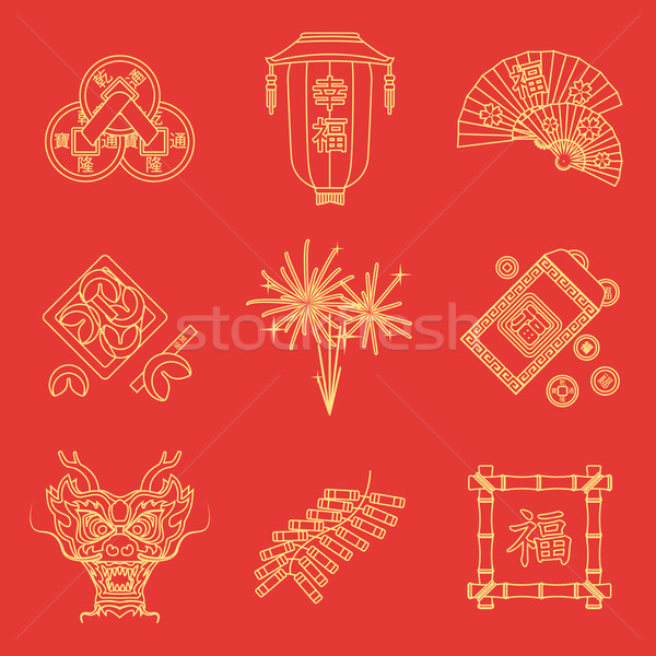 yellow gold outline on red chinese new year icons set Stock photo © TRIKONA