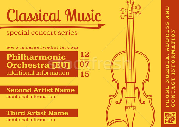 classical music concert violin horizontal music flyer template