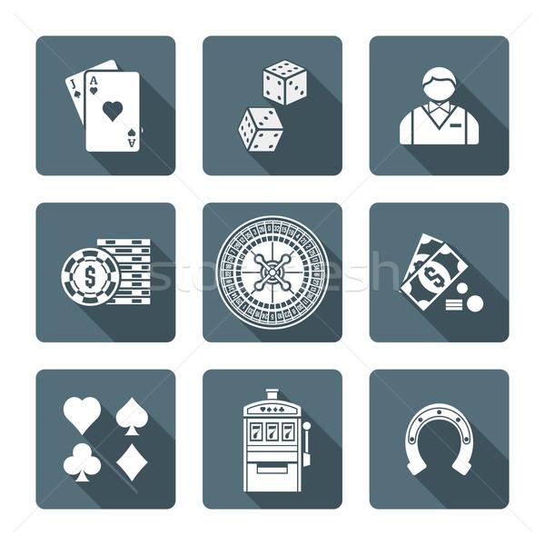 Bianco in bianco e nero gioco d'azzardo icone raccolta Foto d'archivio © TRIKONA