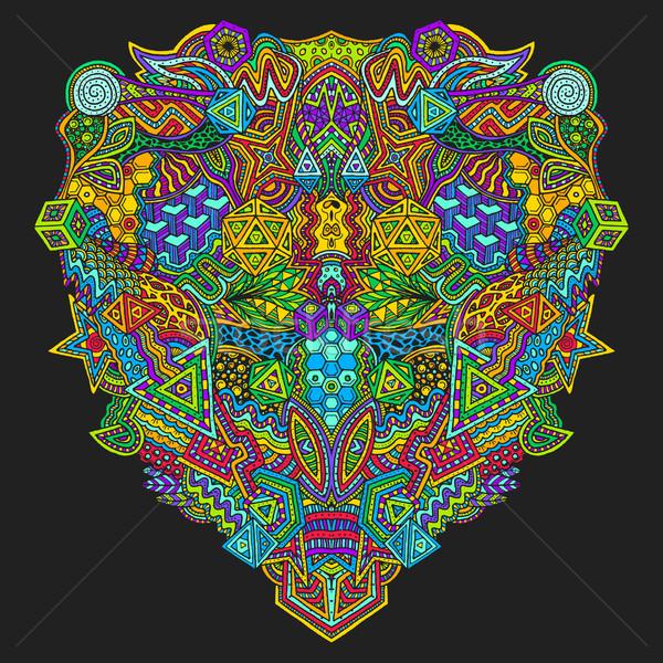 Dibujado a mano decorativo ilustración vector colorido simétrico Foto stock © TRIKONA