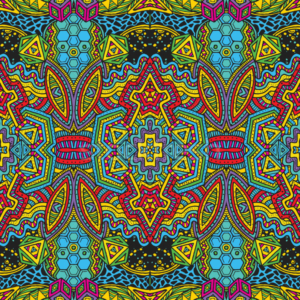 colored hand drawn psychedelic zentangle pattern