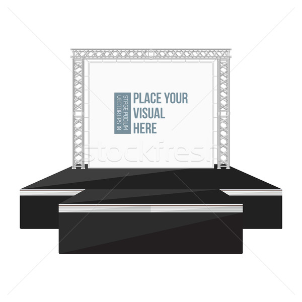 black color flat style high podium stage with banner on metal tr Stock photo © TRIKONA