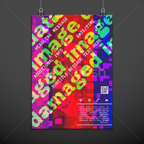 colorful glitch design backdrop poster layout Stock photo © TRIKONA
