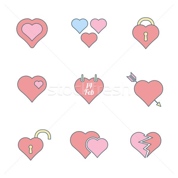 Photo stock: Couleur · coeur · vecteur