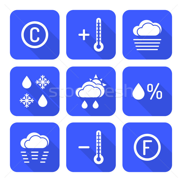 solid white color flat style weather forecast icons set