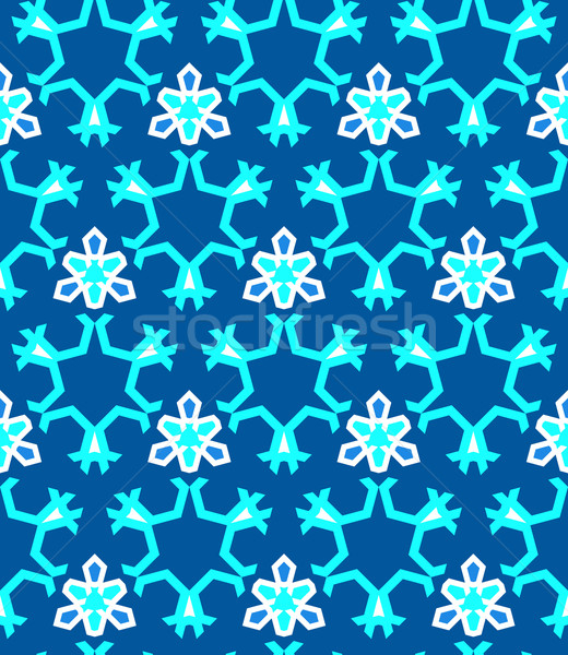 blue cyan white color abstract geometric seamless pattern