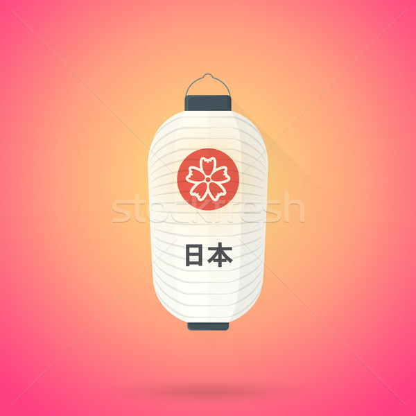 vector flat abstract white japan lantern illustration icon