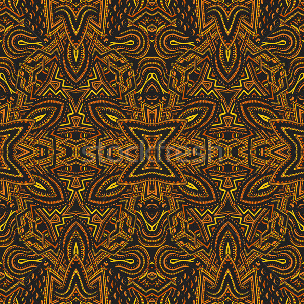 рисованной психоделический шаблон вектора желтый Сток-фото © TRIKONA