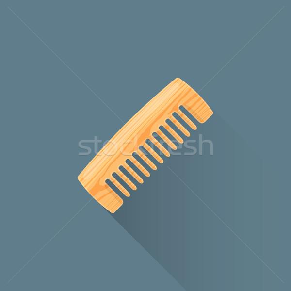 Vector houten kam illustratie icon gekleurd Stockfoto © TRIKONA
