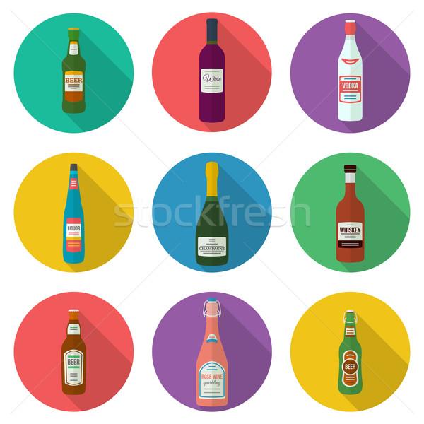 Alkohol üvegek ikon szett terv buli sör Stock fotó © TRIKONA