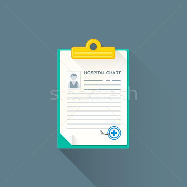 Vektor kórház diagram illusztráció ikon színes Stock fotó © TRIKONA