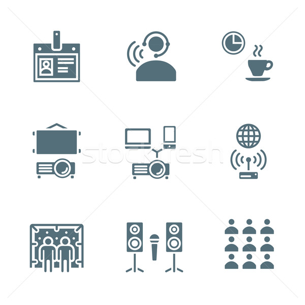 solid grey color conference concept icons Stock photo © TRIKONA