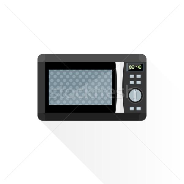 ベクトル スタイル 黒 電子レンジ オーブン 実例 ストックフォト © TRIKONA