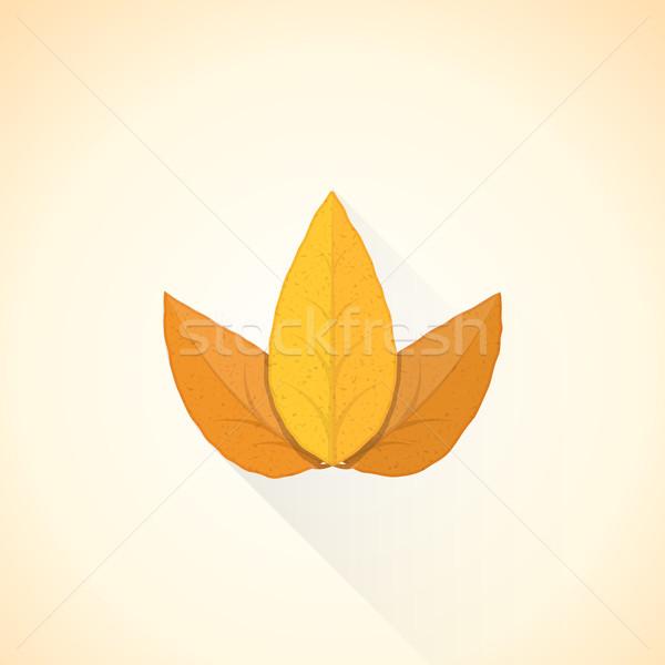 Vector drietal tabak blad illustratie icon Stockfoto © TRIKONA