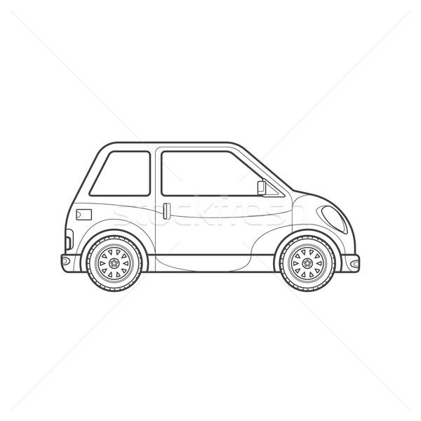 outline compact city car body style illustration icon Stock photo © TRIKONA