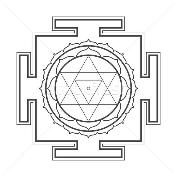 monocrome outline Baglamukhi yantra illustration Stock photo © TRIKONA