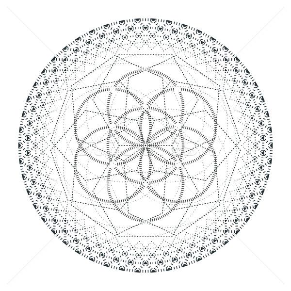 Foto stock: Vetor · mandala · geometria · ilustração · contorno