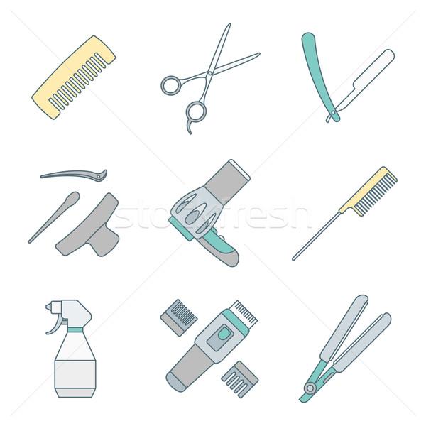 hairdresser tools color outline icons set Stock photo © TRIKONA