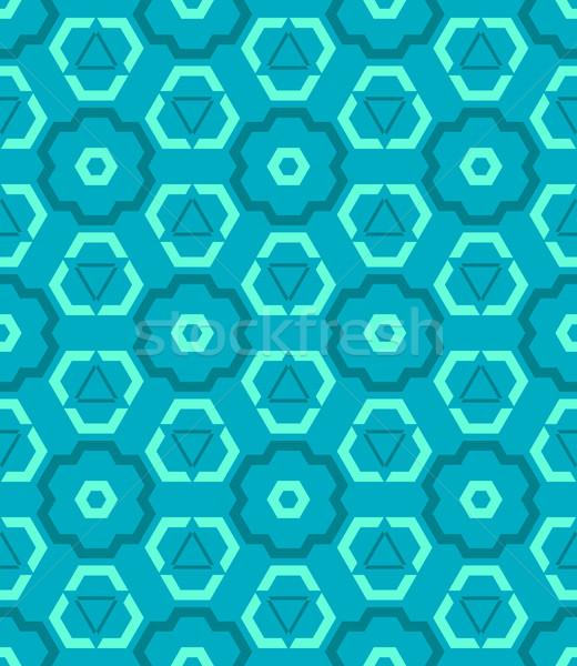 Ciánkék kék zöld szín absztrakt mértani Stock fotó © TRIKONA