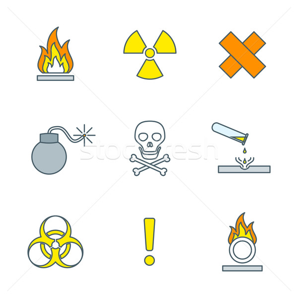 colored outline hazardous waste symbols warning signs icons 