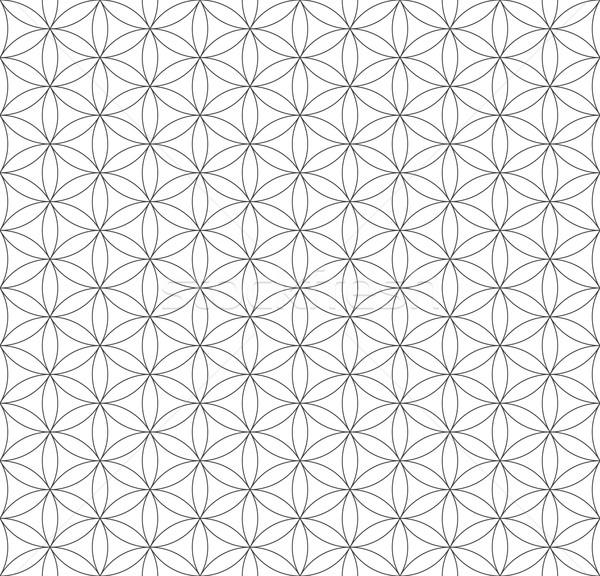 black outline flower of life sacred geometry pattern Stock photo © TRIKONA