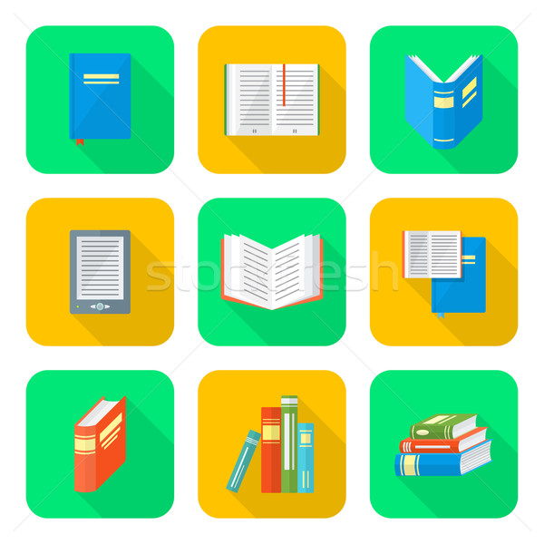 colored flat style books icons set Stock photo © TRIKONA