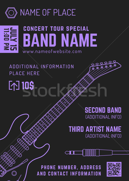 rock music concert electro guitar vertical music flyer template  Stock photo © TRIKONA