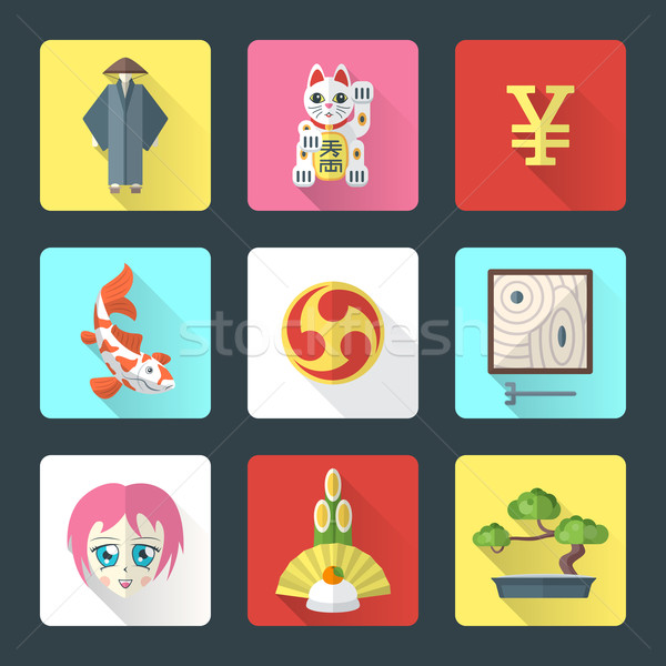 japan theme flat style icons set Stock photo © TRIKONA