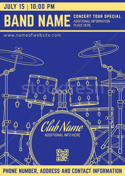 rock music concert drum set vertical music flyer template Stock photo © TRIKONA