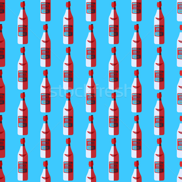 pop art vodka bottle seamless pattern