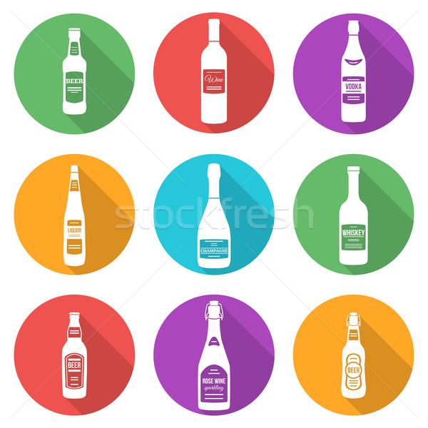 flat style white silhouettes alcohol bottles icons set Stock photo © TRIKONA