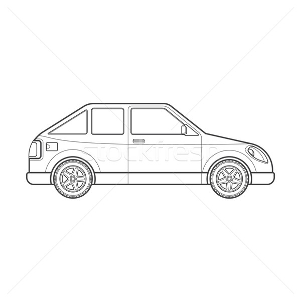 outline hatchback car body style illustration icon