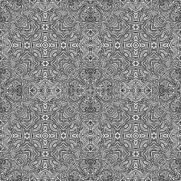 Monokróm kézzel rajzolt végtelen minta illusztráció vektor fekete Stock fotó © TRIKONA