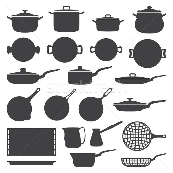 cookware silhouette set Stock photo © TRIKONA