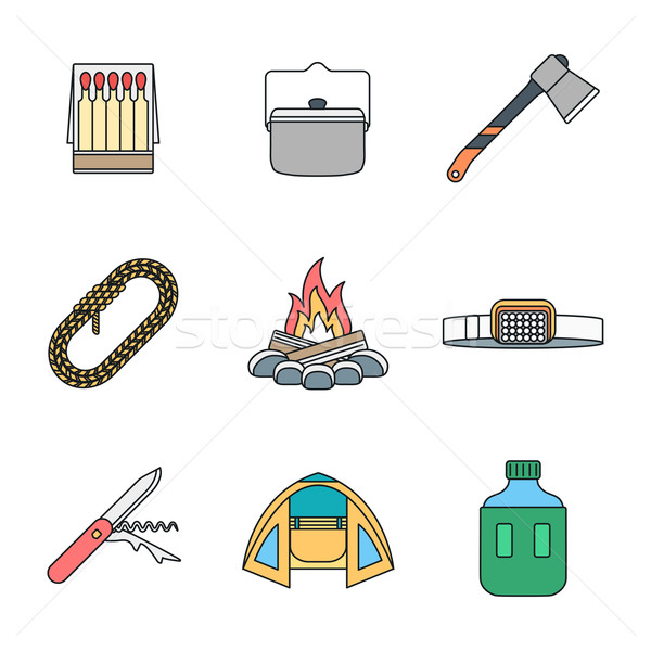 colored outline various camping icons collection